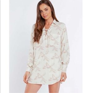 Teeink Ivory Havana Lace up Front Tunic Dress